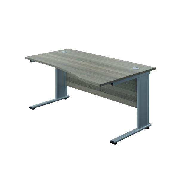 Jemini Double Upright Metal Insert Right Hand Wave Desk 1600x1000mm Grey Oak/Silver KF816097