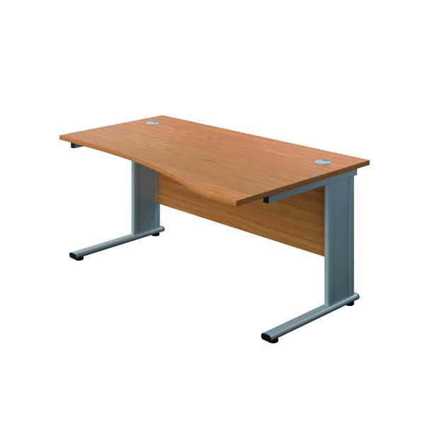 Jemini Double Upright Metal Insert Right Hand Wave Desk 1600x1000mm Nova Oak/Silver  KF816104