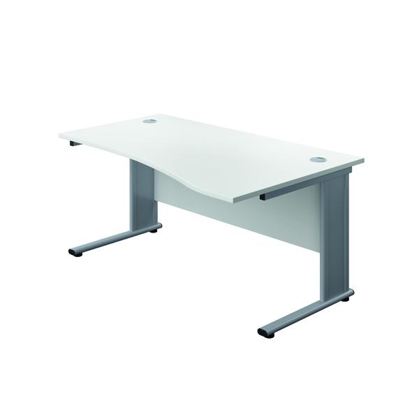 Jemini Double Upright Metal Insert Right Hand Wave Desk 1600x1000mm White/Silver  KF816111