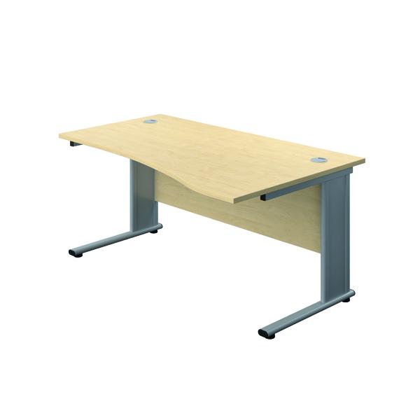 Jemini Double Upright Metal Insert Right Hand Wave Desk 1600x1000mm Maple/Silver KF816128