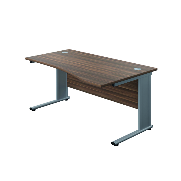 Jemini Double Upright Metal Insert Right Hand Wave Desk 1600x1000mm Dark Walnut/Silver KF816135