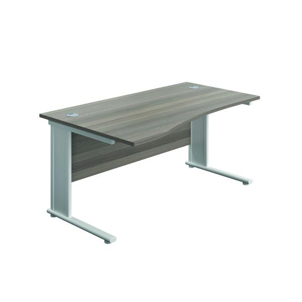 Jemini Double Upright Metal Insert Left Hand Wave Desk 1600x1000mm Grey Oak/White KF816159