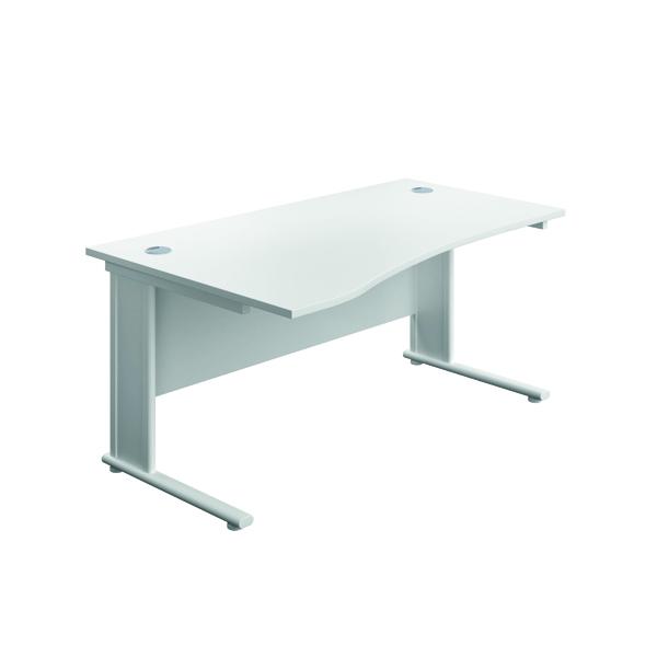 Jemini Double Upright Metal Insert Left Hand Wave Desk 1600x1000mm White/White KF816172