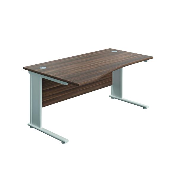 Jemini Double Upright Metal Insert Left Hand Wave Desk 1600x1000mm Dark Walnut/White KF816196
