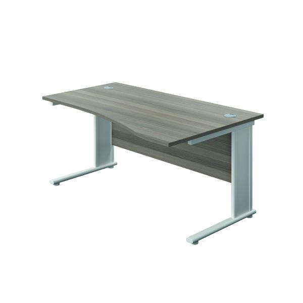 Jemini Double Upright Metal Insert Right Hand Wave Desk 1600x1000mm Grey Oak/White KF816210