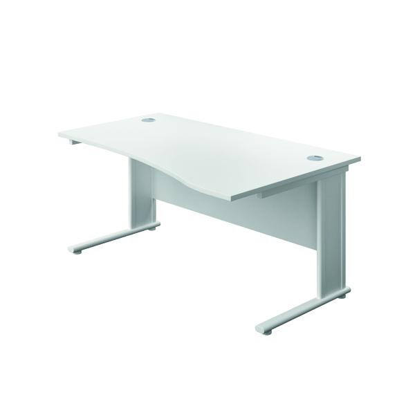 Jemini Double Upright Metal Insert Right Hand Wave Desk 1600x1000mm White/White KF816234