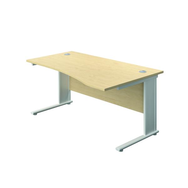 Jemini Double Upright Metal Insert Right Hand Wave Desk 1600x1000mm Maple/White KF816241