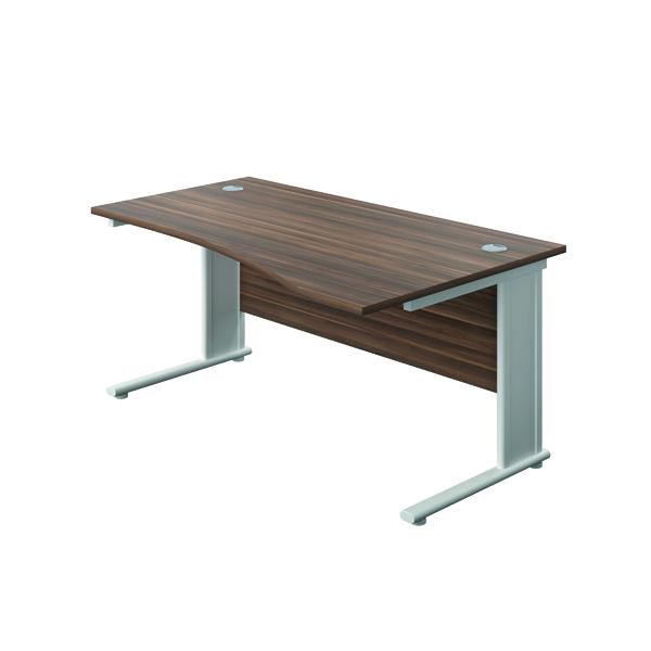 Jemini Double Upright Metal Insert Right Hand Wave Desk 1600x1000mm Dark Walnut/White KF816258