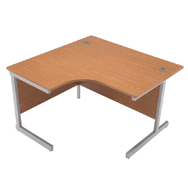 Jemini Oak/Silver 1200mm Left Hand Radial Cantilever Desk KF838040