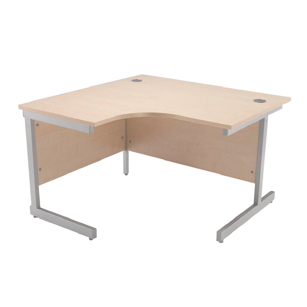Jemini Maple/Silver 1200mm Left Hand Radial Cantilever Desk KF838041