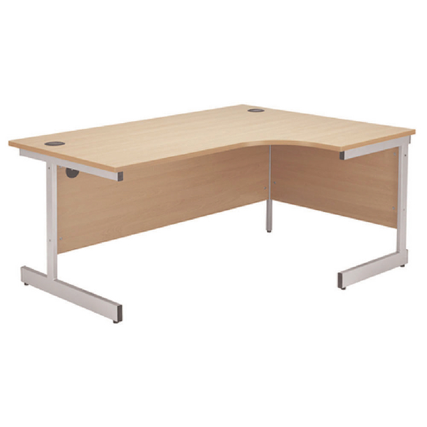 Jemini Beech/Silver 1200mm Right Hand Radial Cantilever Desk KF838042