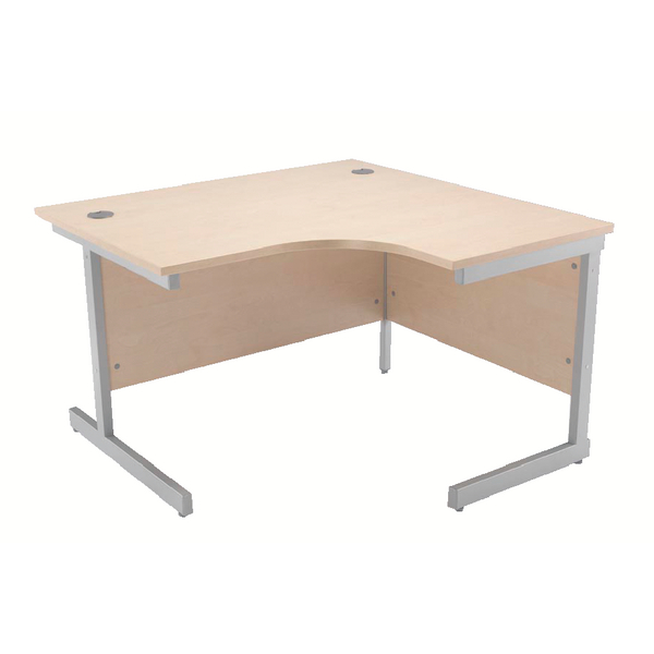 Jemini Maple/Silver 1200mm Right Hand Radial Cantilever Desk KF838044