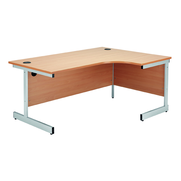 Jemini Beech/Silver 1600mm Right Hand Radial Cantilever Desk KF838048