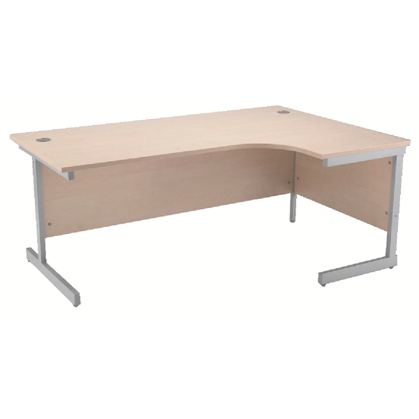 Jemini Maple/Silver 1600mm Right Hand Radial Cantilever Desk KF838050