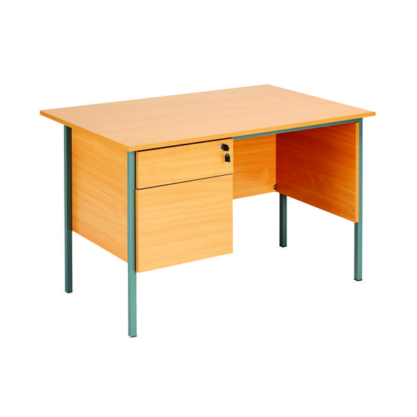 Serrion Bavarian Beech 1200mm Four Leg Desk with Two Drawer Pedestal KF838371