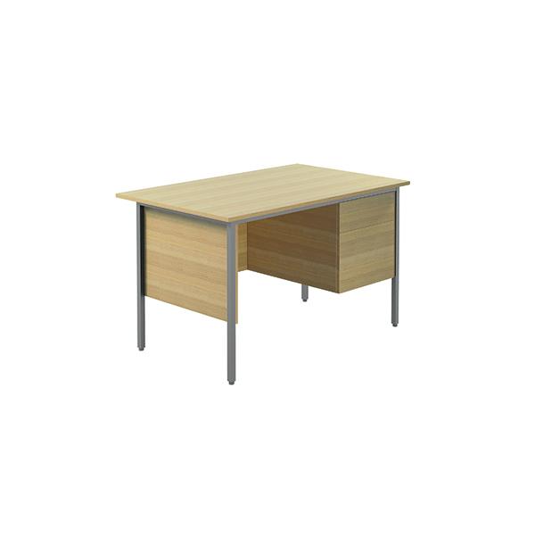 Serrion Ferrera Oak 1200mm Four Leg Desk with Two Drawer Pedestal KF838372