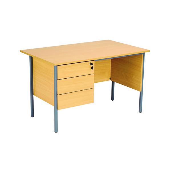 Serrion Ferrera Oak 1200mm Four Leg Desk with Three Drawer Pedestal KF838374