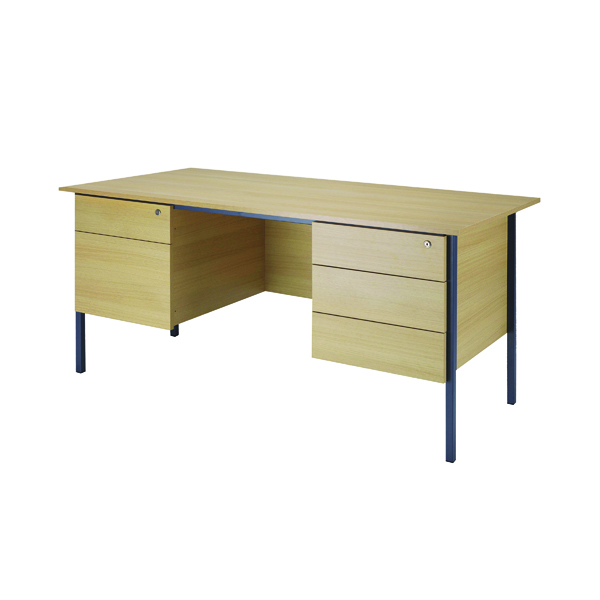 Serrion Ferrera Oak 1500mm Four Leg Desk with Double Pedestal KF838380