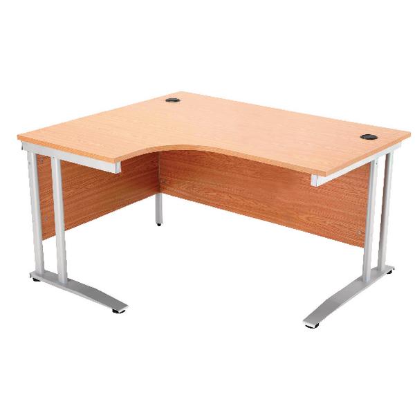 Arista 1600mm Left Hand Oak Radial Desk (Dimensions: W1600 x D600/800 x H720mm) KF838654