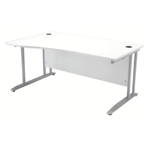 Arista 1600mm Left Hand White Wave Desk (W1600 x D800/1000 x H730mm) KF838682