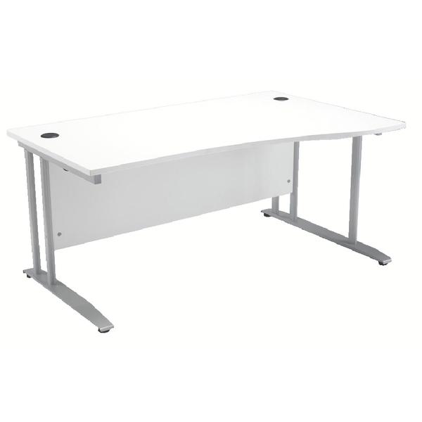Arista 1600mm Right Hand White Wave Desk (Dimension: W1600 x D800/1000) KF838683