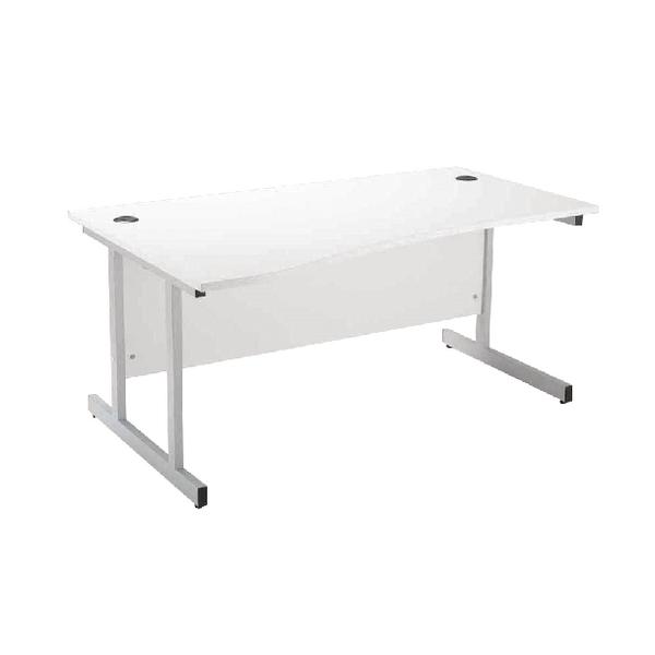 Jemini White/Silver 1600mm Left Hand Wave Desk KF838695
