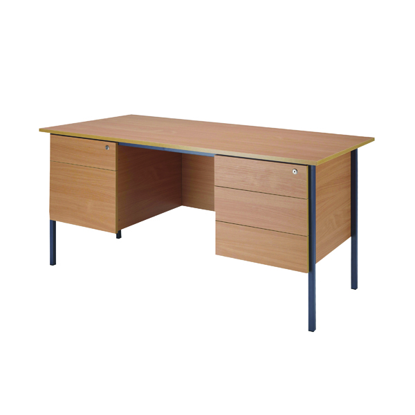 Serrion Bavarian Beech 1800mm 4 Leg Double Pedestal Desk KF838755
