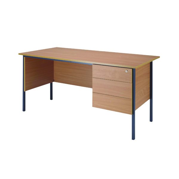 Serrion Bavarian Beech 1800mm 4 Leg Desk with 3 Drawer Pedestal KF838805