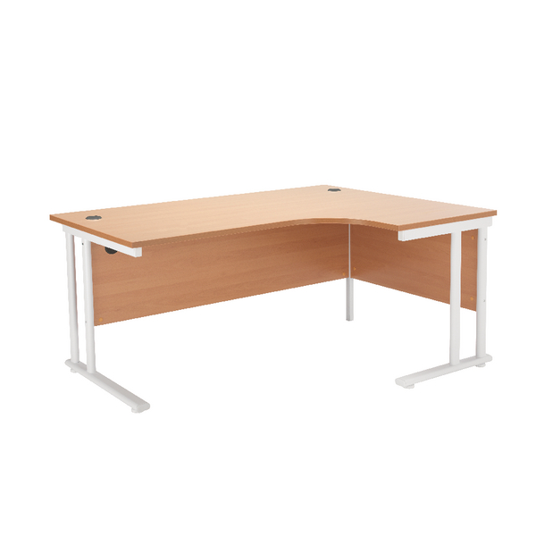 First Radial Right Hand Cantilever Desk 1600mm Beech with White Leg KF838910