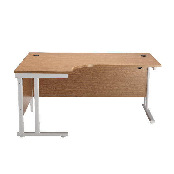 First Radial Left Hand Cantilever Desk 1600mm Oak with White Leg KF838911