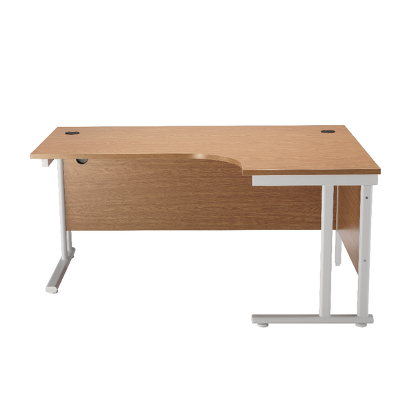 First Radial Right Hand Cantilever Desk 1800mm Oak with White Leg KF838918