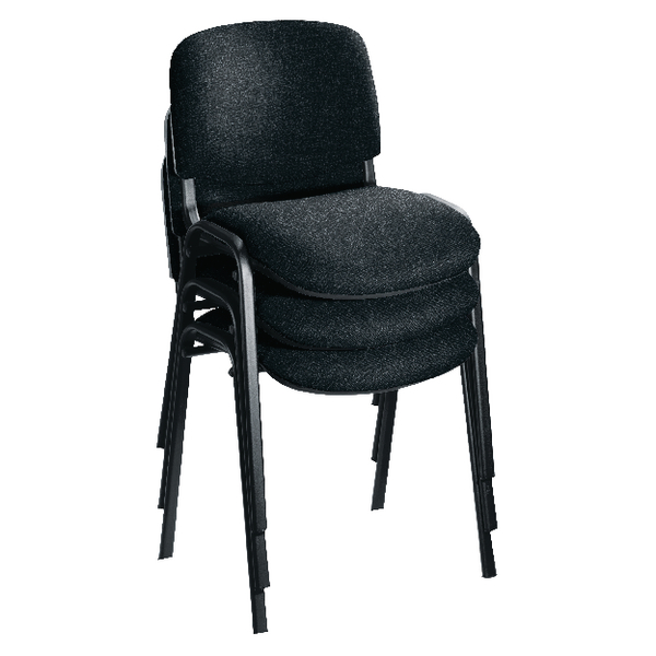 First Multipurpose Stacking Chair Black Frame Charcoal Upholstery (Pack of 4) KF839226