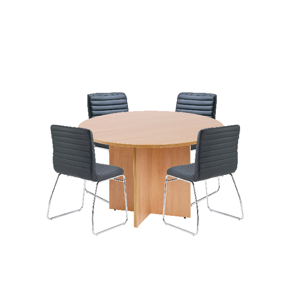 First Beech 1200mm Diameter Round Meeting Table with Dart Meeting Chairs