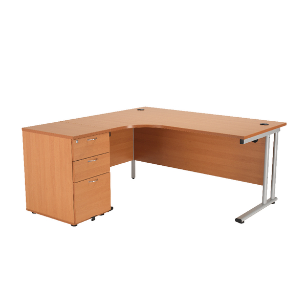 First Radial Desk and Pedestal Bundle 1600x1200 Radial and 3 Drawer 600d Desk High Pedestal Beech
