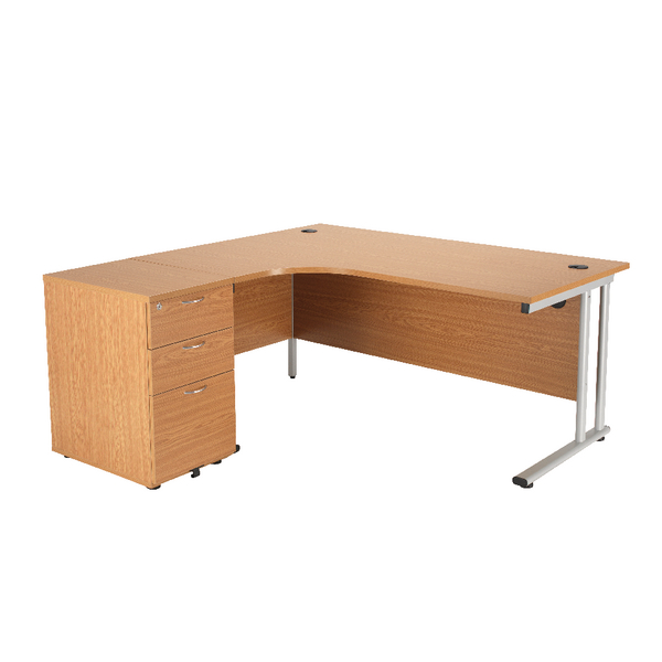 First Radial Desk and Pedestal Bundle 1600x1200 Radial and 3 Drawer 600d Desk High Pedestal Oak