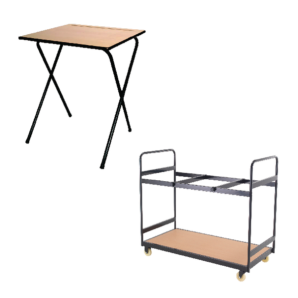 Jemini MDF Exam Desk (Pack of 40) and Trolley Bundle KF839286