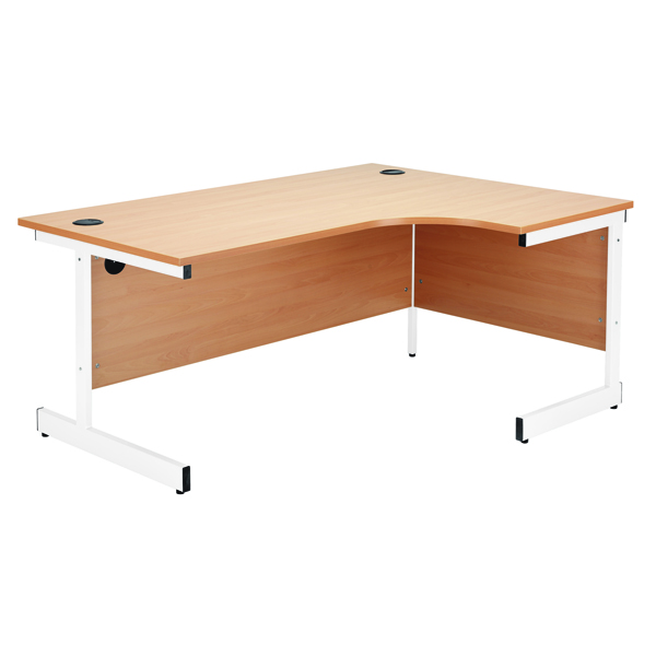 Jemini Maple/White 1200mm Left Hand Radial Cantilever Desk KF839303