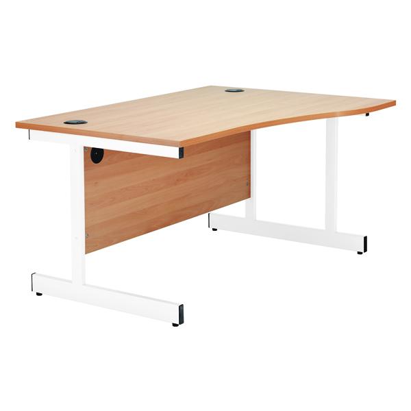 Jemini Beech/White 1600mm Left Hand Wave Cantilever Desk KF839317