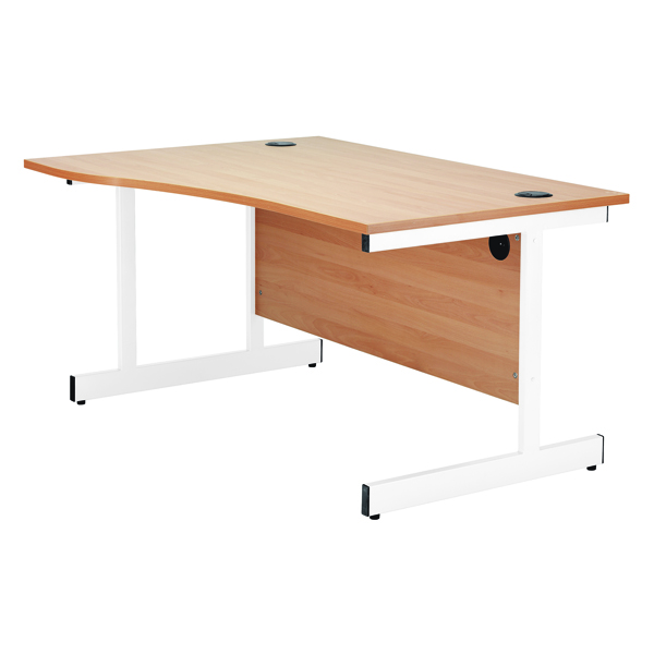 Jemini White/White 1600mm Right Hand Wave Cantilever Desk KF839324