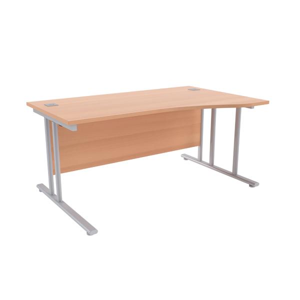 Jemini Beech/Silver 1600mm Right Hand Wave Cantilever Desk KF839641