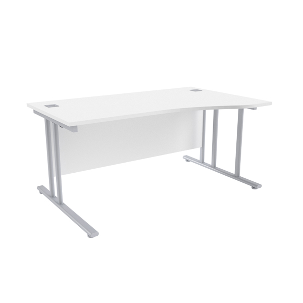 Jemini White/Silver 1600mm Right Hand Wave Cantilever Desk KF839644