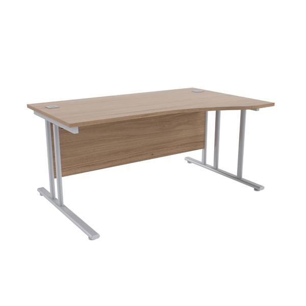 Jemini Grey Oak/Silver 1600mm Right Hand Wave Cantilever Desk KF839645