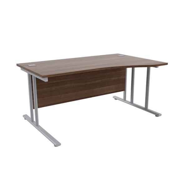 Jemini Walnut/Silver 1600mm Right Hand Wave Cantilever Desk KF839646