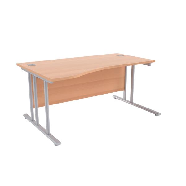 Jemini Beech/Silver 1600mm Left Hand Wave Cantilever Desk KF839647