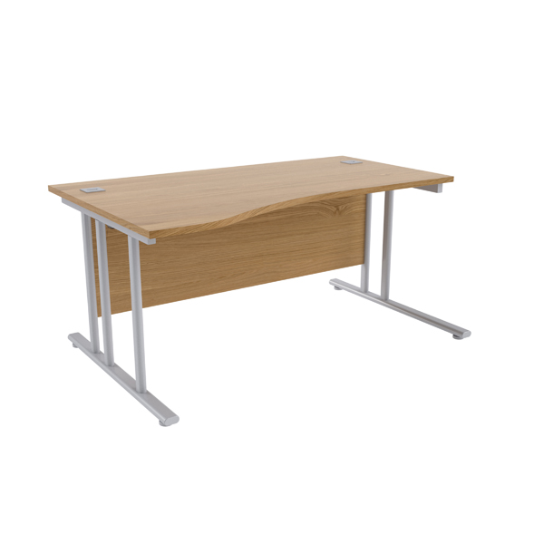 Jemini Oak/Silver 1600mm Left Hand Wave Cantilever Desk KF839648