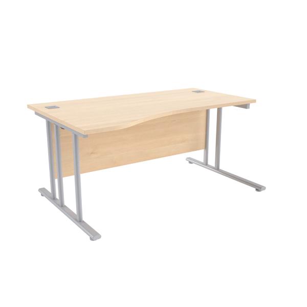 Jemini Maple/Silver 1600mm Left Hand Wave Cantilever Desk KF839649