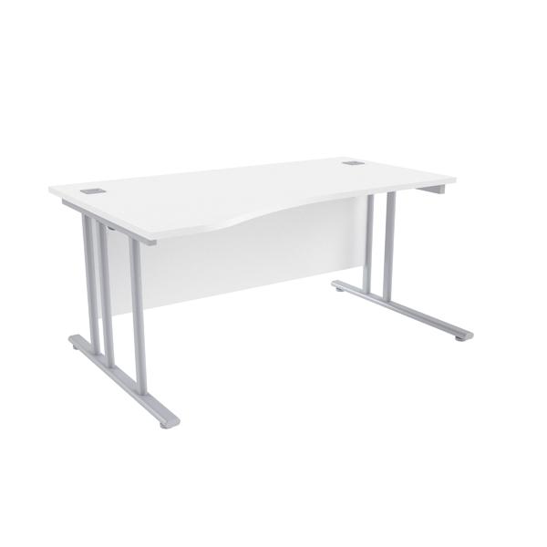 Jemini White/Silver 1600mm Left Hand Wave Cantilever Desk KF839650