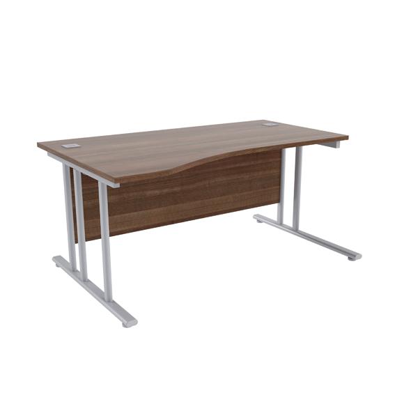 Jemini Walnut/Silver 1600mm Left Hand Wave Cantilever Desk KF839652