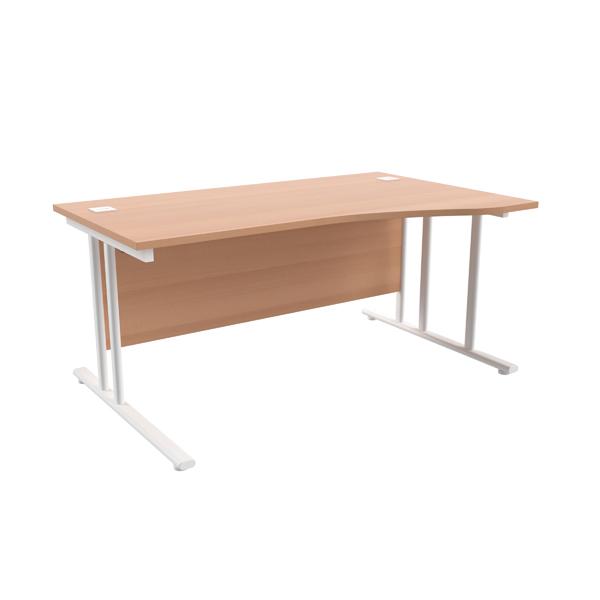 Jemini Beech/White 1600mm Right Hand Wave Cantilever Desk KF839737