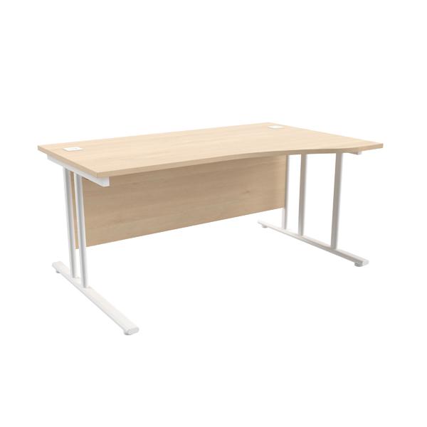 Jemini Maple/White 1600mm Right Hand Wave Cantilever Desk KF839739